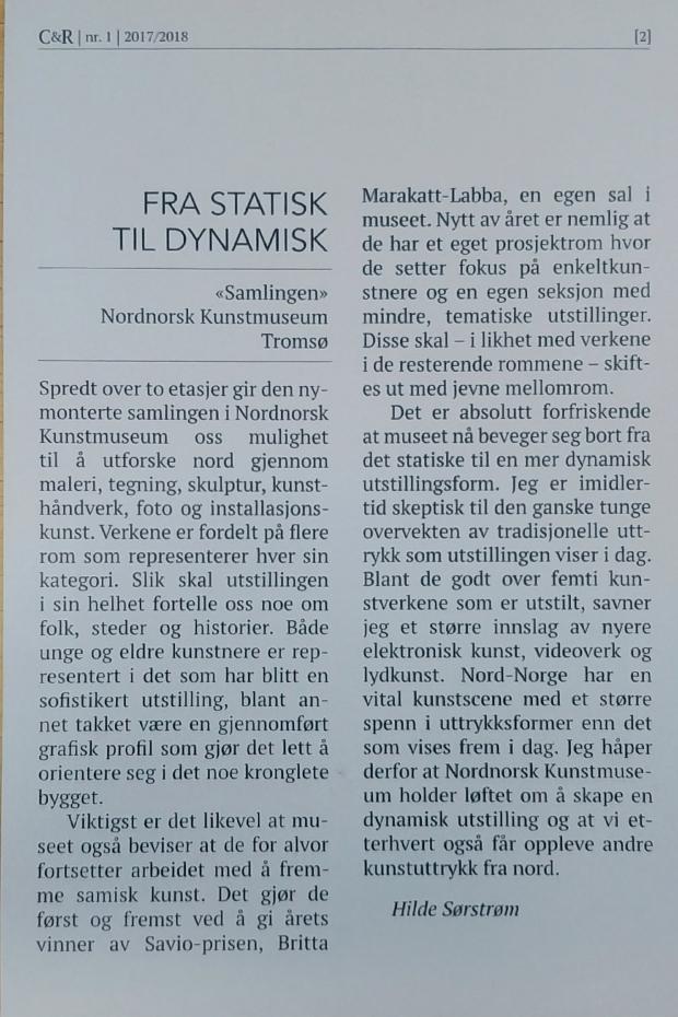 Hilde Sørstrøms kritikk Fra statisk til dynamisk