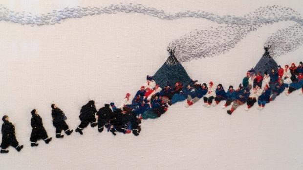 Detalj fra «Garjját» (Kråkene) av Britta Marakatt-Labba