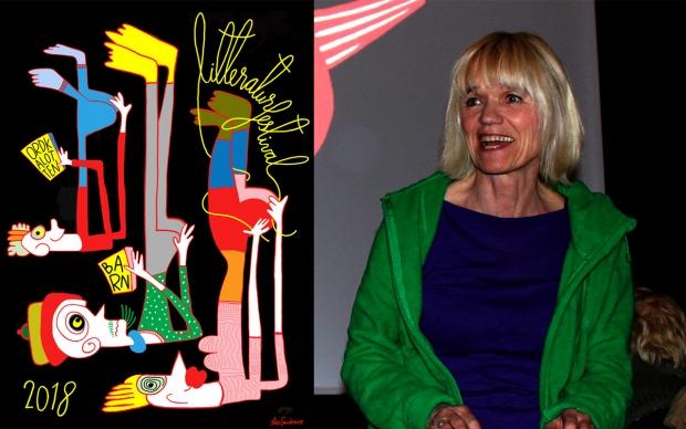 Iben Sandemose (Foto: Grethe Tvede - Aust-Agder bibliotek og kulturformidling) og hennes festivalplaket for Ordkalotteb 2018