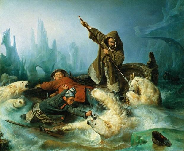 Kamp med isbjørner av François-Auguste Biard (1839)