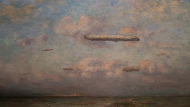Detalj fra «Zeppeliner over Vlieland» av Betzy Akersloot-Berg