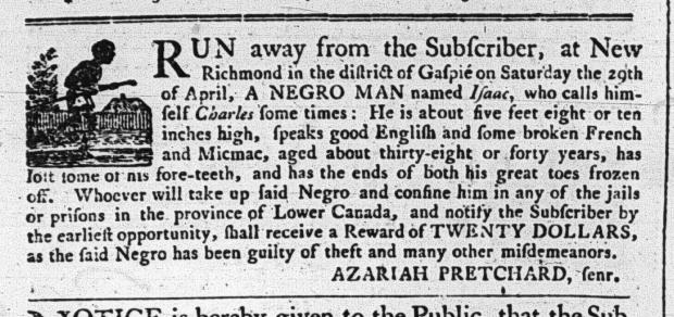 Annonse i Quebec Gazette i mai 1794