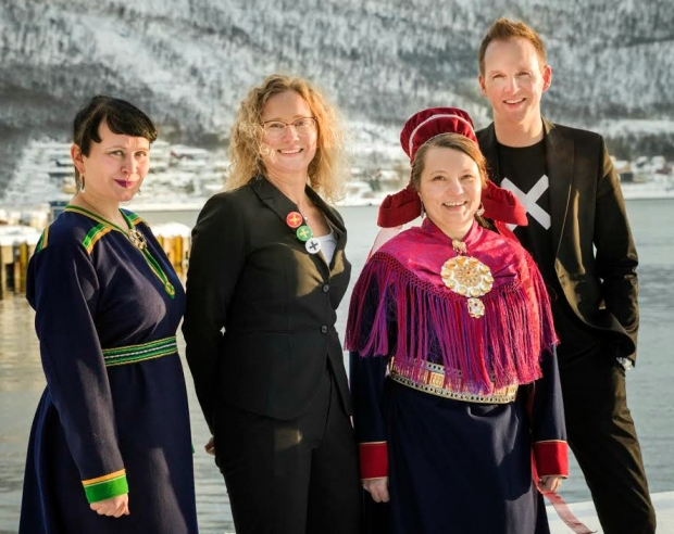 """Direktør"" for Sámi Dáiddamusea, Marita Isobel Solberg, Tone Hansen fra kulturrådet og direktører Anne May Olli (RDM) og Jérémie M McGowan (NNKM)"