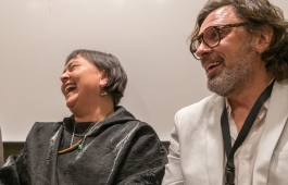 Sonya Kellhier-Coombs and Marek Ranis at the «Subsistence» session during Arctic Arts Summit