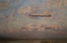 Betzy malte ofte mennesker og teknologi inn i maleriene sine. Her tyske zeppelinere på vei til for å bombe Storbittanna.
