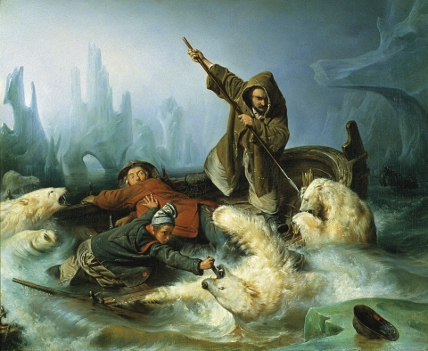 «Fighting Polar Bears» by Francois-Auguste Biard