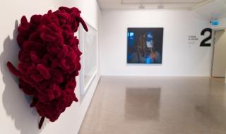 "Fra samlingsutstillingen: Hanne Friis' «Klump» og Hanne Lydia O. Figenschous ""Big Orange"""