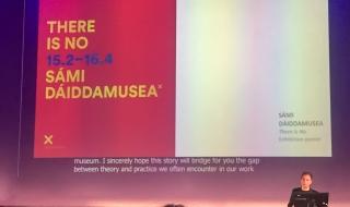 Direktør Jérémie McGowan presenterer Sámi Dáiddamusea på MuseumNext